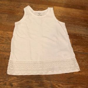 "Carters white tank top with ""lace"" detail"